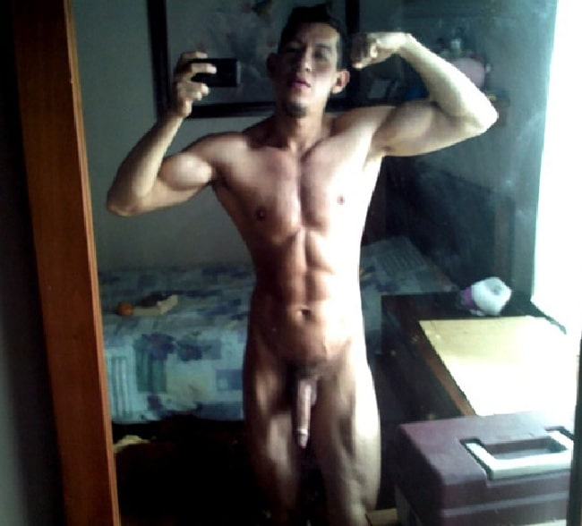 Nude Muscle Boy Flexing